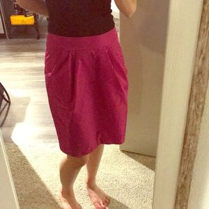 Hot pink taffeta Banana Republic pencil skirt